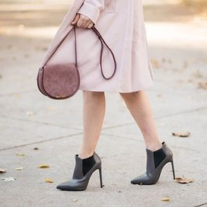 Cuyana Suede and Leather Crossbody Saddle Bag